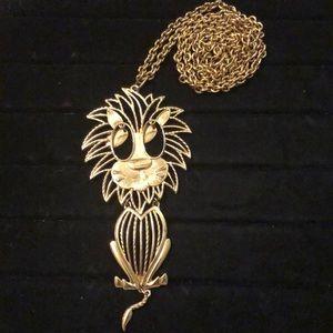 "Alan Gold Tone Cat Necklace 28"" Long!!"